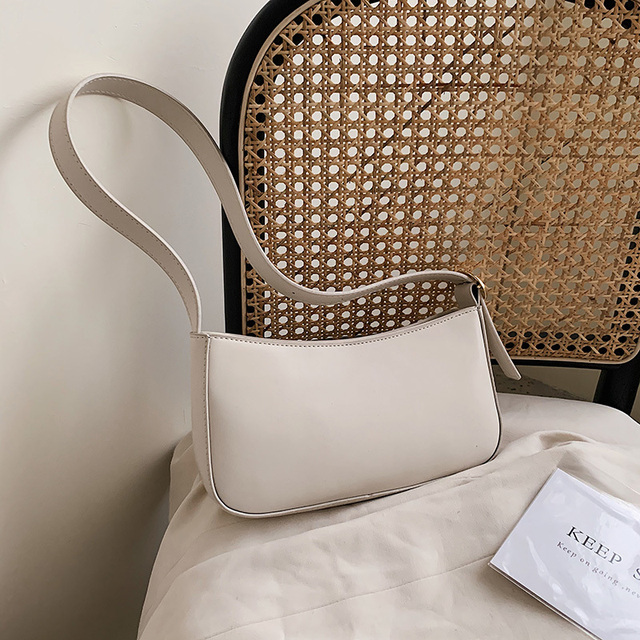 Cute Solid Color Small PU Leather Shoulder Bags For Women 2021 Summer Simple Handbags And Purses Female Travel Totes 5