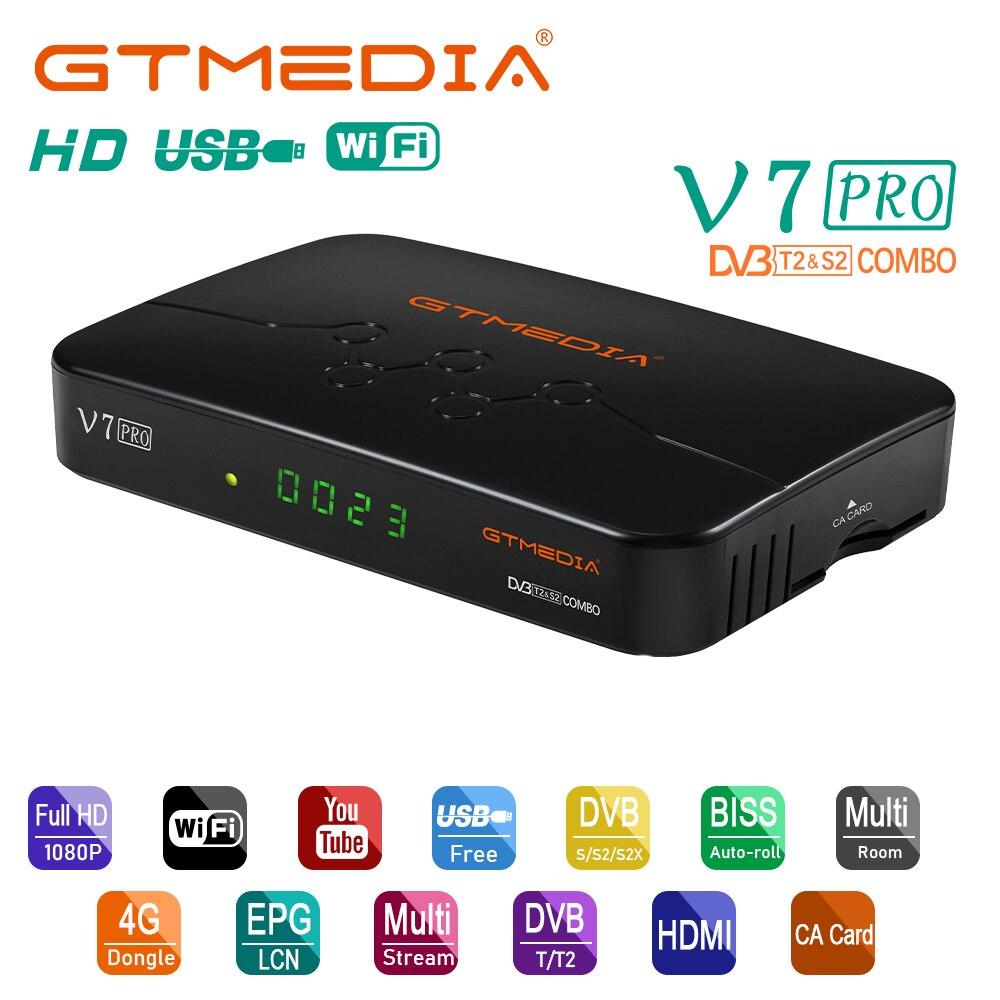 Спутниковый ТВ-приемник GTMEDIA V7 PRO DVB-S/S2/S2X + T/T2 декодер карта CA Встроенный Wi-Fi ТВ-приставка H.265 Biss Key Youtube PK V7 PLUS