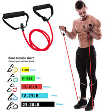 Tube-Band Handles Pull-Rope Exercise Strength Training Elastic Fitness Workouts 5-Levels-Resistance-Bands