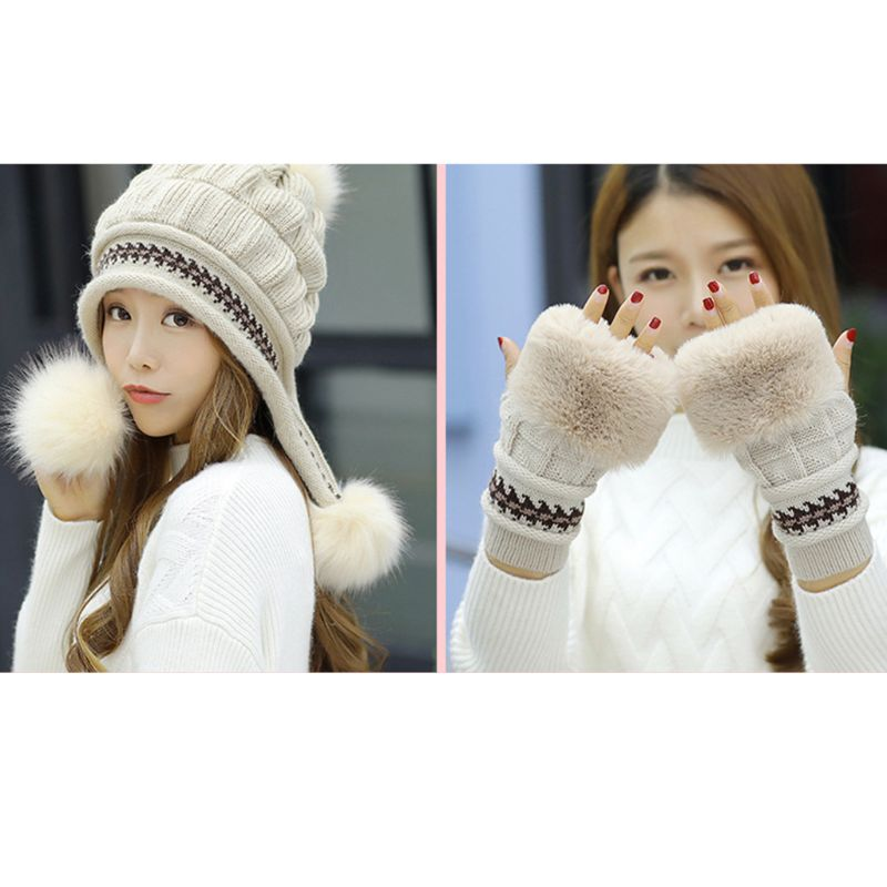 2Pcs/Set 2Pcs/Set Women Winter Thicken Chunky Knitted Earflap Hat With Gloves Jacquard Striped Rabbit Fur Beanie Cap Pompom Ball