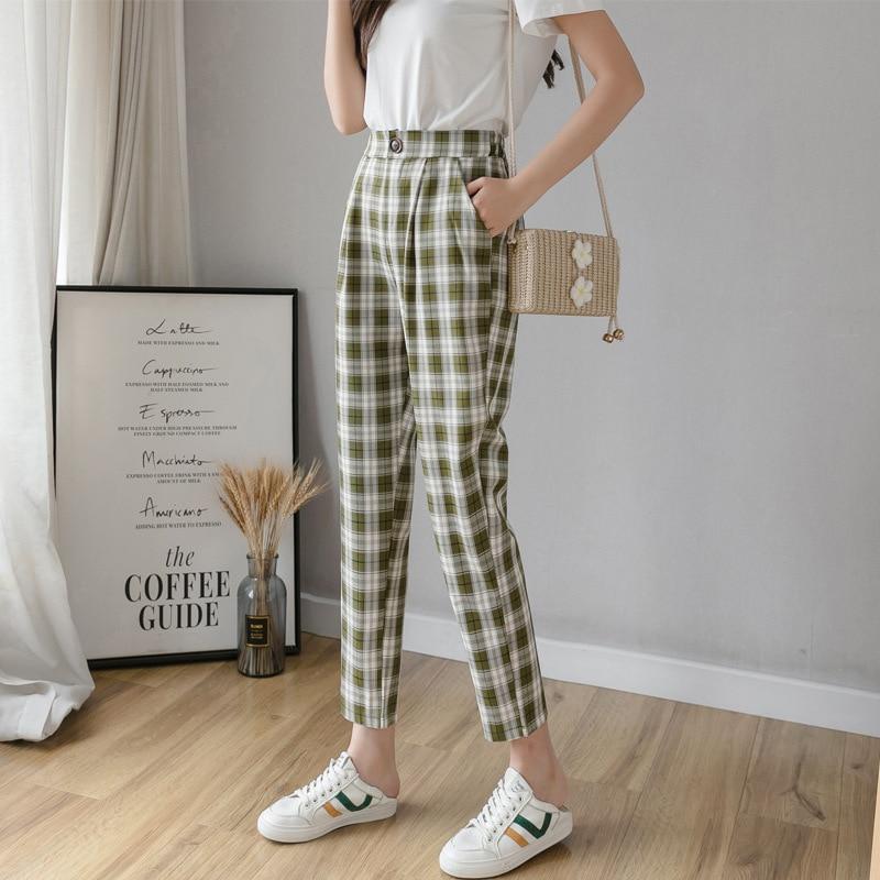 SISHION 2020 Spring Summer British Plaid Pants Women Pantalon Femme VD1317 Vintage Trousers Harem Pants Woman Clothes