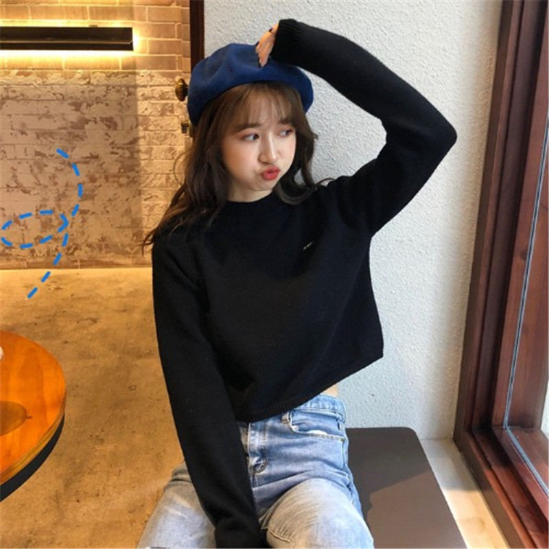 Focal20 Streetwear Solid Women Crop Sweater Top O-neck Slim Female Pullovers Crop Jumpers Spring Autumn Lady Sweaters Crop Tops 1