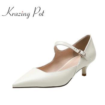 Krazing pot full grain leather pointed toe med thin heels metal buckle European style design handmade career modern pumps L06