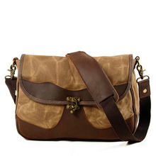 Retro Shoulder Canvas Bag Men New Style Fashion Portable Outdoor Computer Casual Saddle Camel Cowhide
