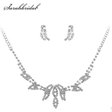 In Stock Elegant Women Wedding Necklace Earring Sets Crystal Rhinestone Bridal Jewelry Sets Party Costume Bridesmaids Gift 15019 bridal jewelry sets wedding necklace earring for brides party accessories gold plated crystal decoration women