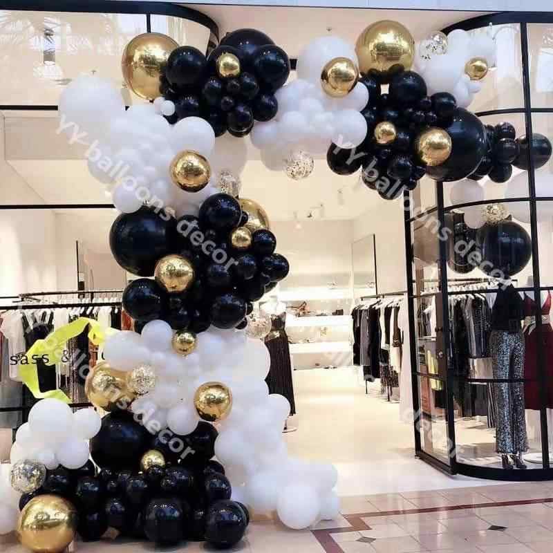 Anniversary Balloons Black and Gold Balloons Birthday Balloons Bridal Shower Balloons Gold Balloons Marble and Confetti Balloons