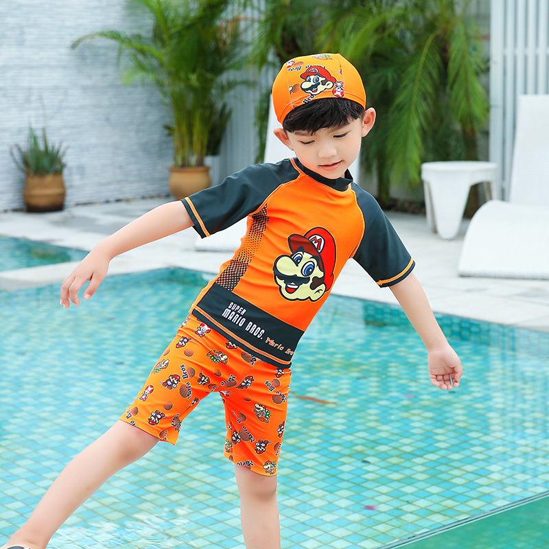 KID'S Swimwear Boys' One-piece Swimsuit 2018 New Style Sun-resistant Hot Springs Half Sleeve Baby Boy Tour Bathing Suit