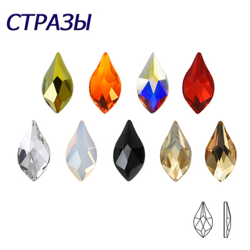 20pcs Pear Flame Nail Mix Color Rhinestones Gems Diamond Gold Bottom Flat Back art Strass Stone 3D Charms Nails Accessories