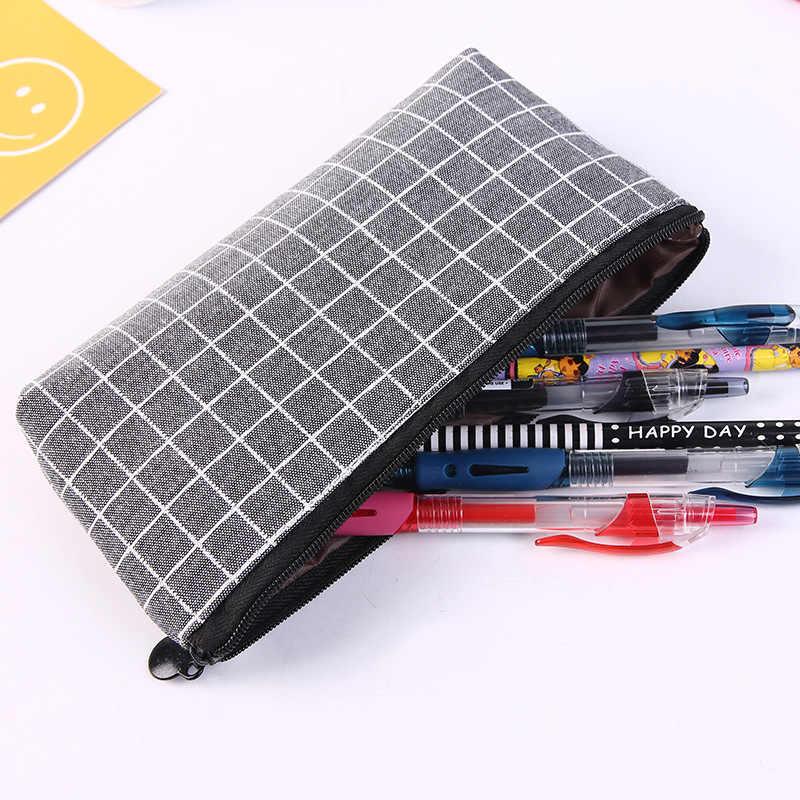 1 adet ızgara kalem kutusu Kawaii muhtasar katı renk tuval kalem çantası yaratıcı Pencilcase okul malzemeleri sevimli kırtasiye