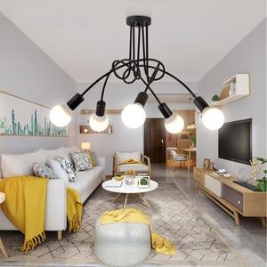 Image 1 - Скандинавская люстра в стиле лофт, винтажная потолочная лампа В индустриальном стиле, люстра со сгибающейся индивидуальностью для дома и магазина, паук chande