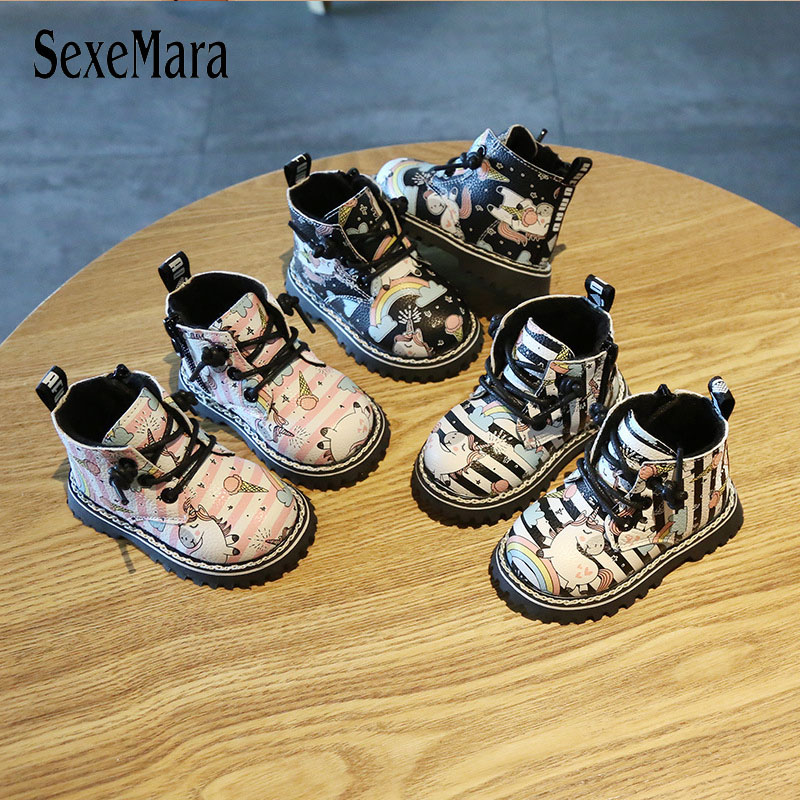 0-1-3 Yrs Baby Boots Boy Girl Winter Sneakers Lovely Unicorn Newborn Toddler Infant Shoes Ankle Boots Leather Child Shoe C09101