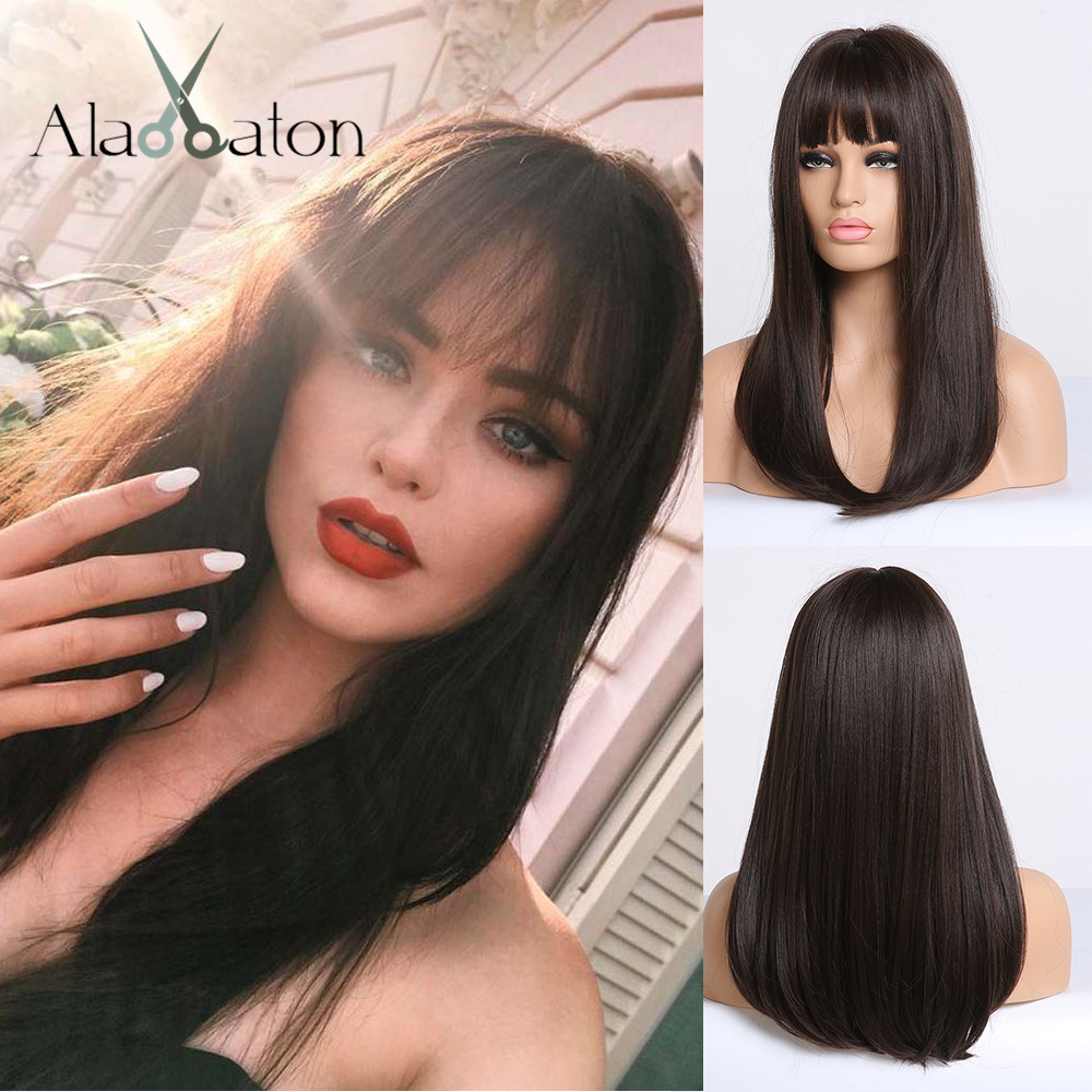 ALAN EATON Synthetic Wig For Black Women African American Long Straight Black Brown Wigs With Bangs Cosplay Hair Bobo Lolita Wig