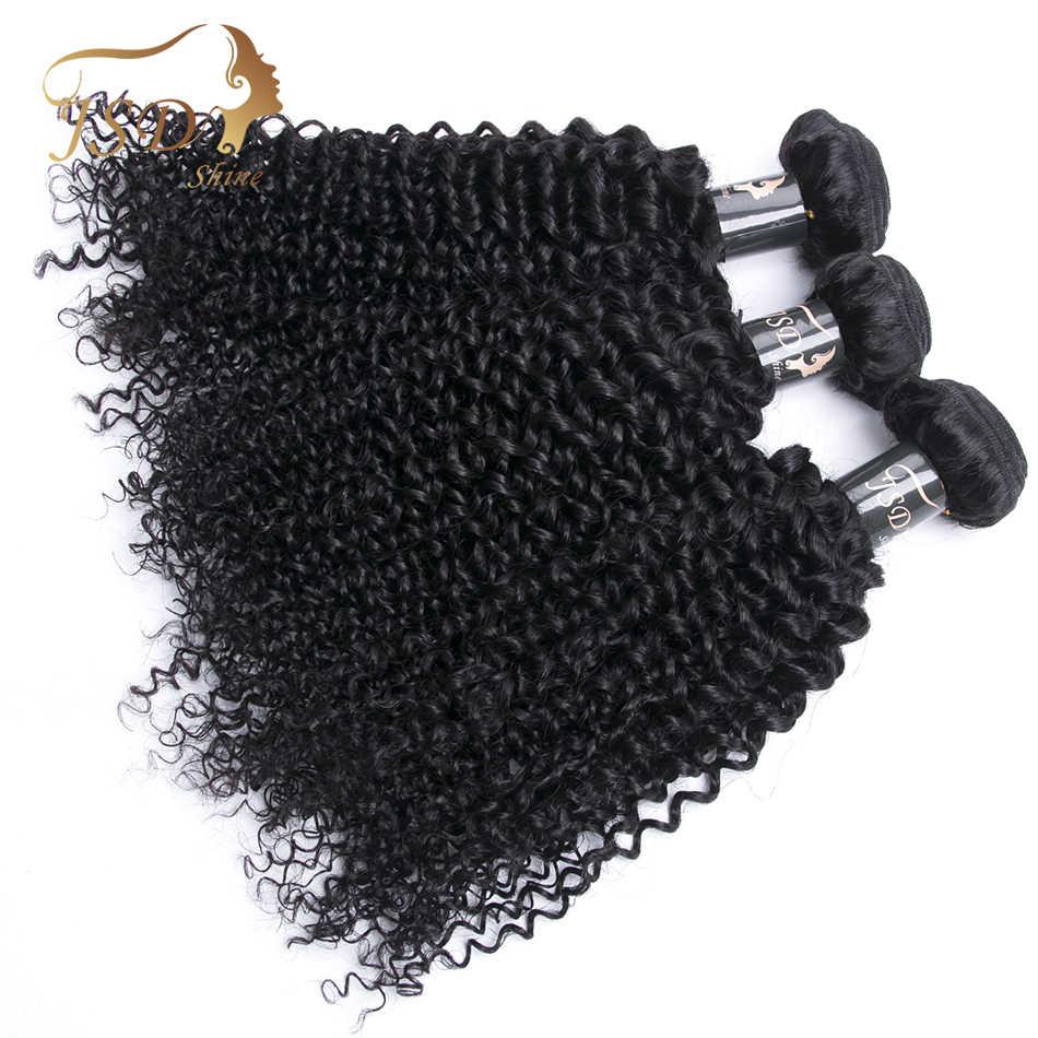 Paquetes rizados de pelo brasileño paquetes de cabello humano 100% paquetes de extensiones de cabello no Remy JSDShine cabello 4 paquetes