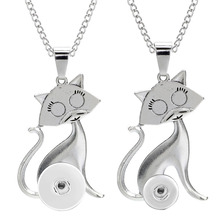 Pendant Necklace Snap Jewelry Animal-Chain Silver-Color Women Cute for 12MM 18MM Snaps