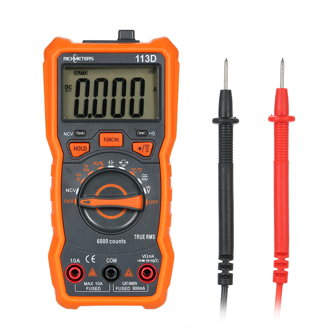 Richmeters multímetro rm113d multimetro tester multímetro digital 6000 contagens automático variando ac/dc tensão temperatura de medição