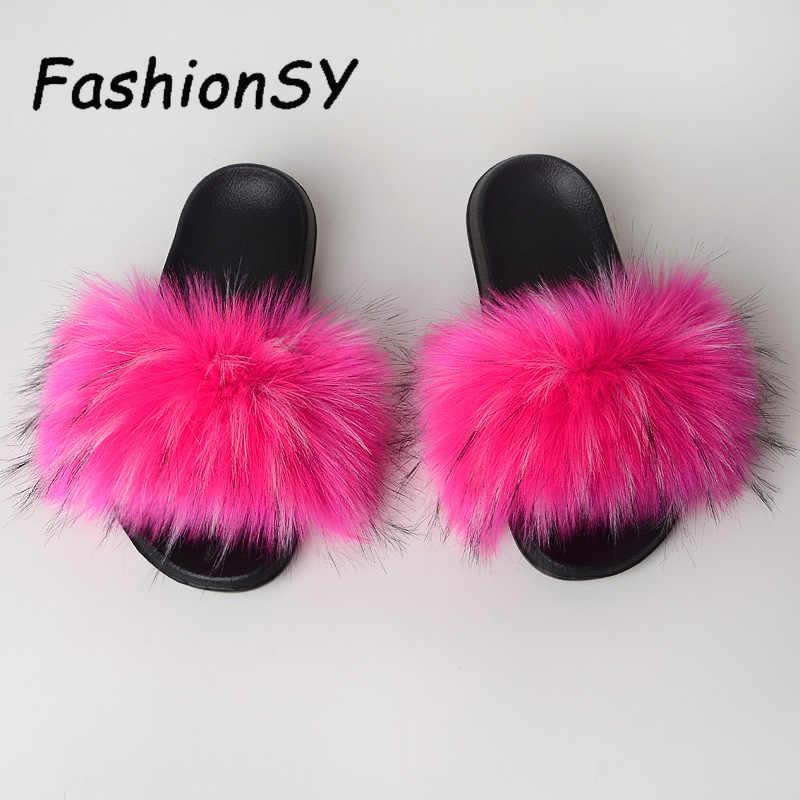 Kadın kürklü terlik yaz bayanlar sevimli taklit tilki kürk kabarık sandalet kadın kürk terlik kış sıcak peluş Flats ayakkabı büyük boyutu