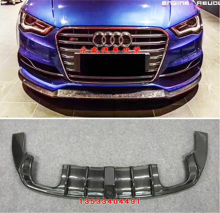 Carbon Fiber <font><b>REAR</b></font> TRUNK WING SPOILER & FRONT LIP &SIDE SKIRT& <font><b>REAR</b></font> BUMPER <font><b>DIFFUSER</b></font> For <font><b>Audi</b></font> <font><b>A3</b></font> S3 RS3 Sline Sedan 2014 2015 <font><b>2016</b></font> image