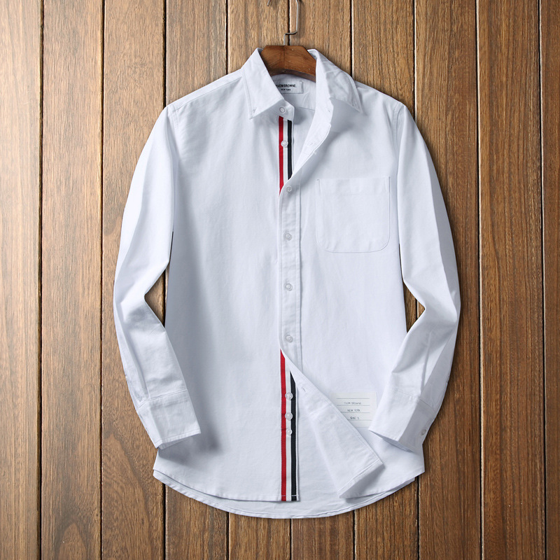 208 New Style Men Long Sleeve Casual Shirt High-End TB Oxford Cloth No Ironing Korean-style Youth Blue Stripes Shirt
