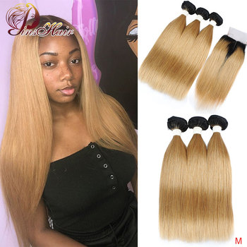 Brazilian Ombre Honey Blonde Bundles With Closure 1b/27 Human Hair Weave Bundles With Lace Closure Pinshair Non-remy Pre-Plucked