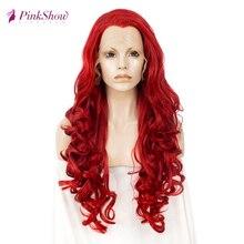 Pinkshow красный парик фронта шнурка парики для женщин длинные волнистые синтетические кружевные передние парики термостойкие волокна косплей парик бесклеевой