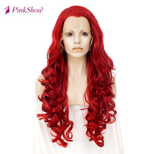 Pinkshow Red Wig Lace Front Wigs For Women Long Wavy Synthetic Lace Front Wig Heat Resistant Fiber Cosplay Wig Glueless brazilian losse curly synthetic wigs glueless synthetic lace front wig for black women heat resistant lace front wig