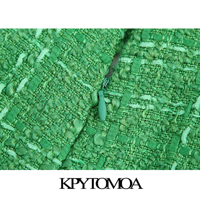 KPYTOMOA Women 2021 Chic Fashion With Lining Tweed Shorts Vintage High Waist Back Zipper Female Short Pants Mujer 5