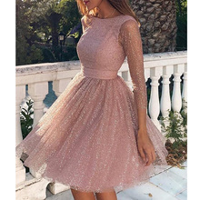 Yesexy 2019 O Neck Glitter Elegant Women Mini Dresses A Line Backless Three Quarter Sleeve VR19668