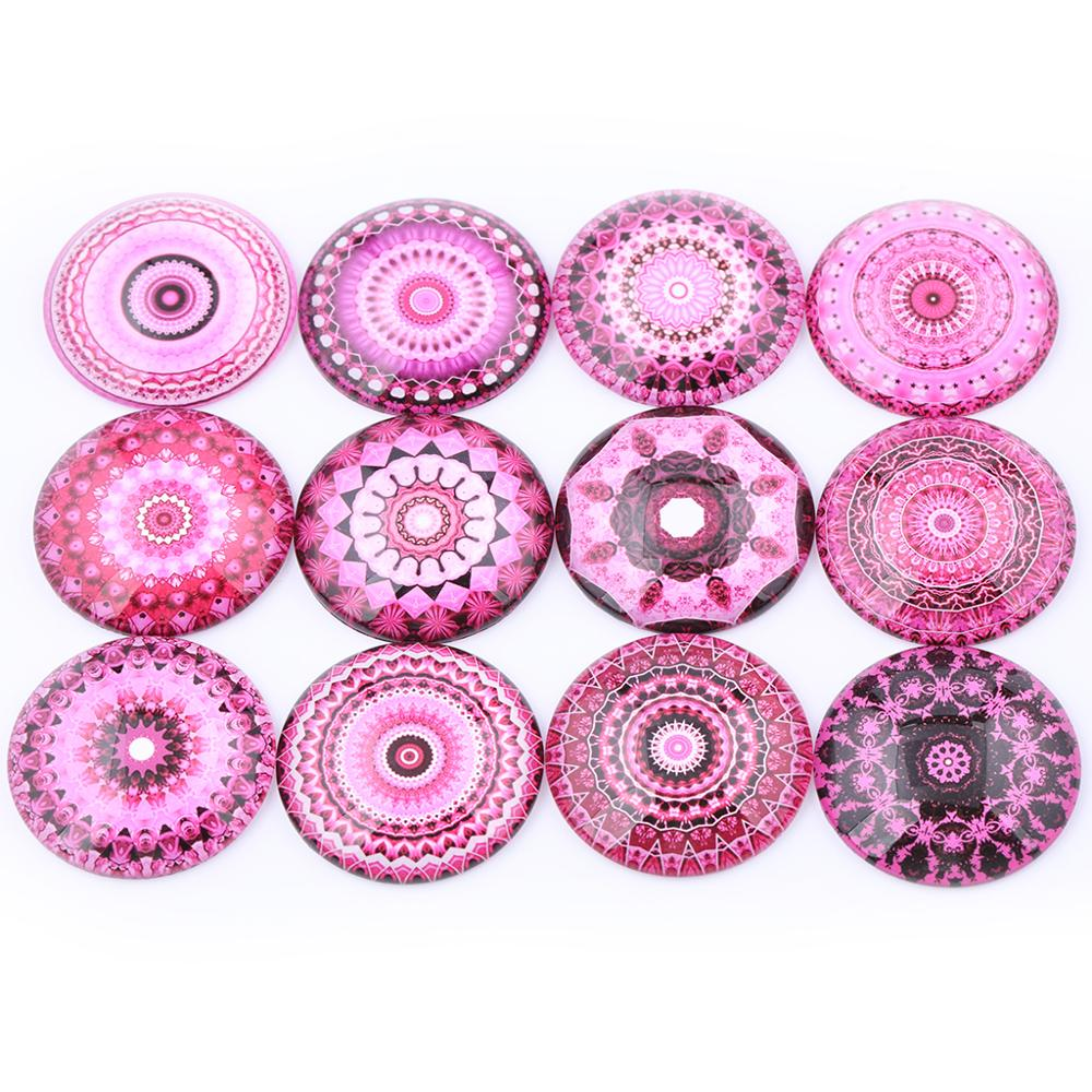 Mixed Pink Mandala Photo Round Glass Cabochon 12mm 20mm 25mm 30mm Diy Jewelry Findings For Earrings Pendants Making