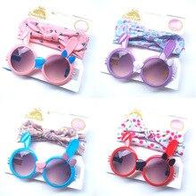 Neue 2 teile/los Kinder Baby Mädchen Sonnenbrille Haar Band Set Anti Uv Cartoon Gläser Knoten Bogen Stirnband Eywear Fahrer Brille