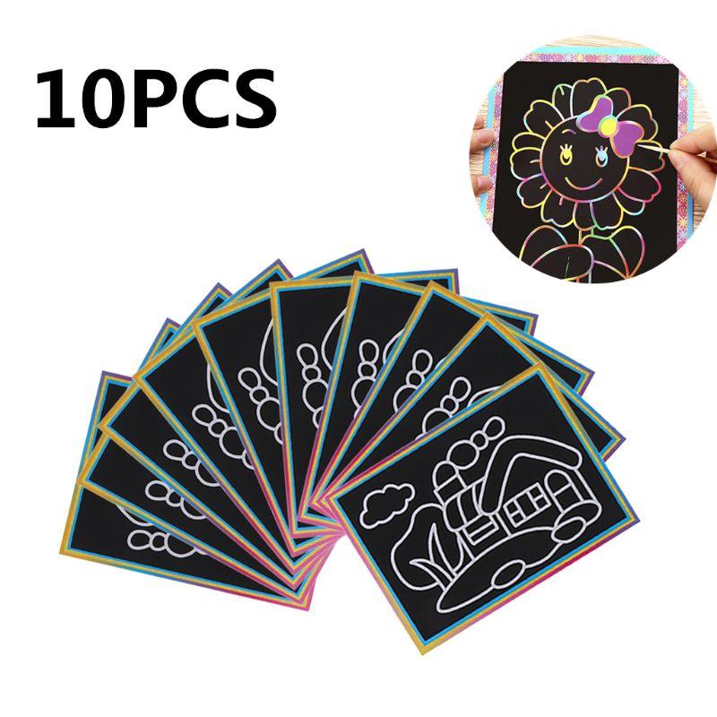 10PCS Estampados Scratch Papel de Arte Papel Pintura Mágica Com Desenho Da Vara Toy Kids Educação Desenho Brinquedos Y51E