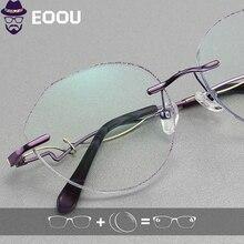 Women Rimless glasses Photochromic Optical Glasses Prescription Anti blue light Oculos Myopia Multifocal Lens Frame