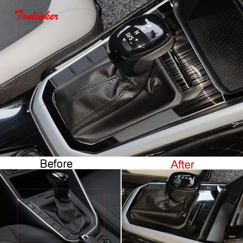 Tonlinker Interior Car Door Gear Panel Cover Sticker For Volkswagen POLO 2019 Car Styling 1 PCS Stainless Steel Cover Sticker