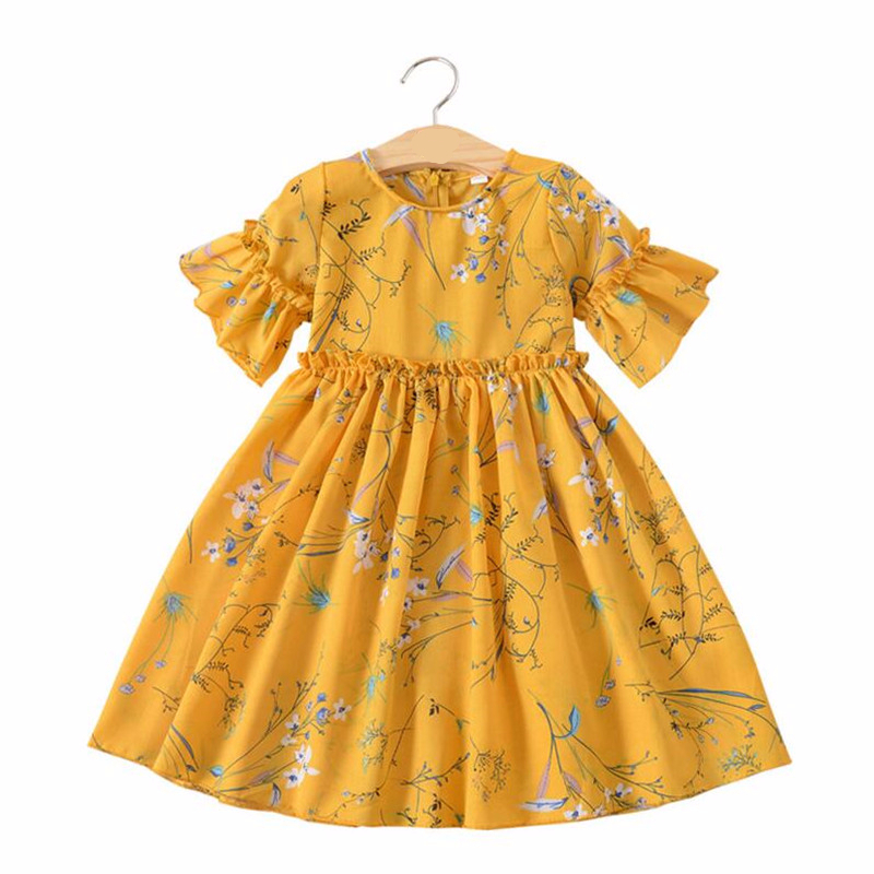 3-10 Years Baby Girls Chiffon Dress Flare Sleeve Princess Floral Print Kids Dresses For Summer Children Beach Clothes With Hat