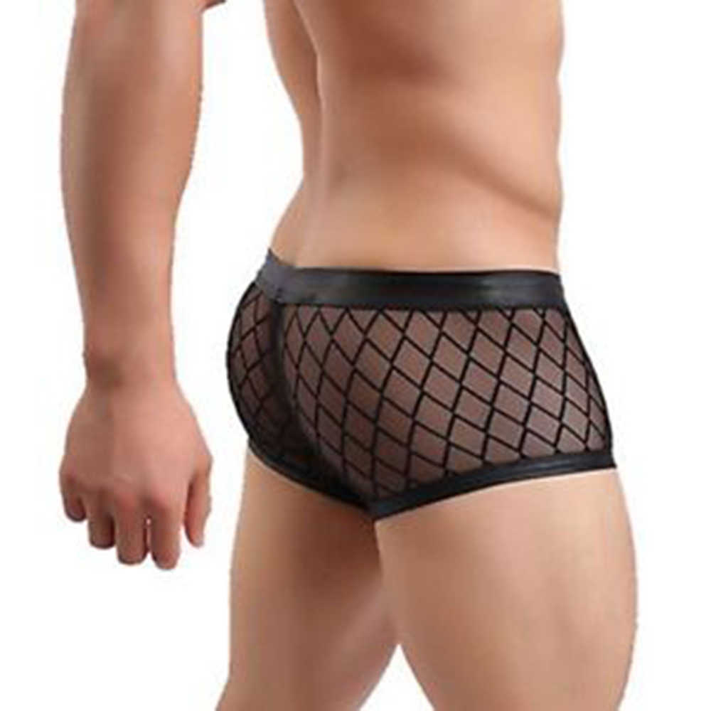 Black Sexy Breathable Thin Boxer Men Mesh Transparent See Through U-convex Underwear Lingerie Gay Wear Pants  Plus Size Hot Sale