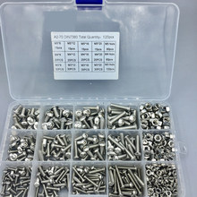 Screws 520Pcs M3 M4 M5 Hex Hexagon Socket Screw Set Stainless Steel Flat Round Cap Head Screw Kit Bolts and Nuts Allen Bolts Set
