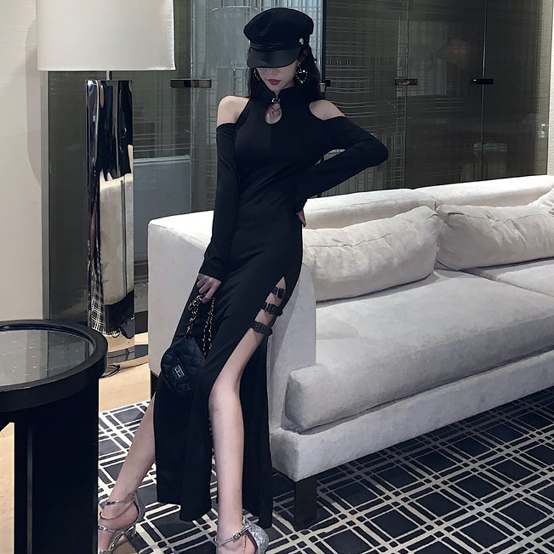 2020 High Split Women Traditional Dress Morden Oriental Cheongsam Sexy Qipao Female Nightclub Banquet Evening Party Dress