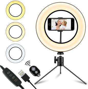 USB LED Selfie Ring Light Photography Bluetooth Remote Makeup Photo Studio Lamp For Youtube Video Live With Tripod Stand