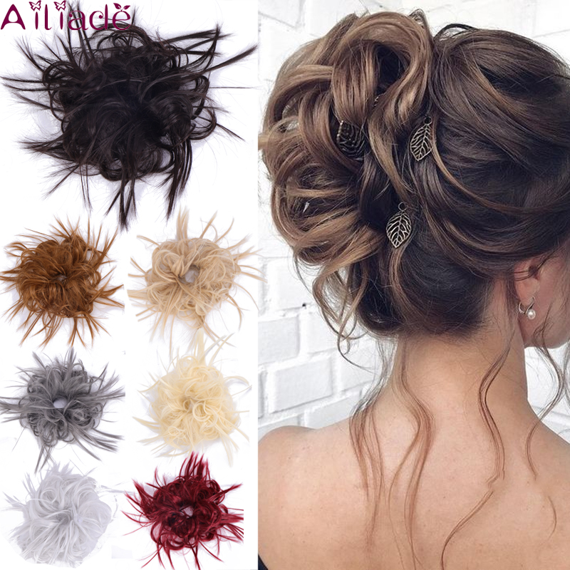 AILIADE Scrunchy Hair Bun Synthetic Hair Extension For Women Messy Bun Women Chignon Elasticity Hair Band Donut Wrap Ponytail