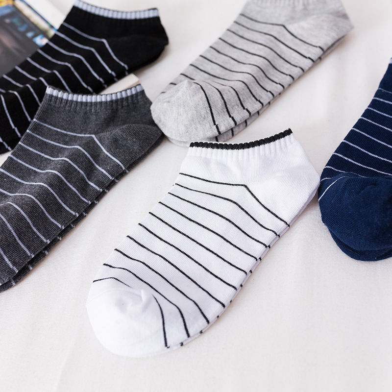 5 Pairs Lot New Summer Men Socks Short Ankle Socks Cotton College Style Lines Black Casual Sock Size 39-43