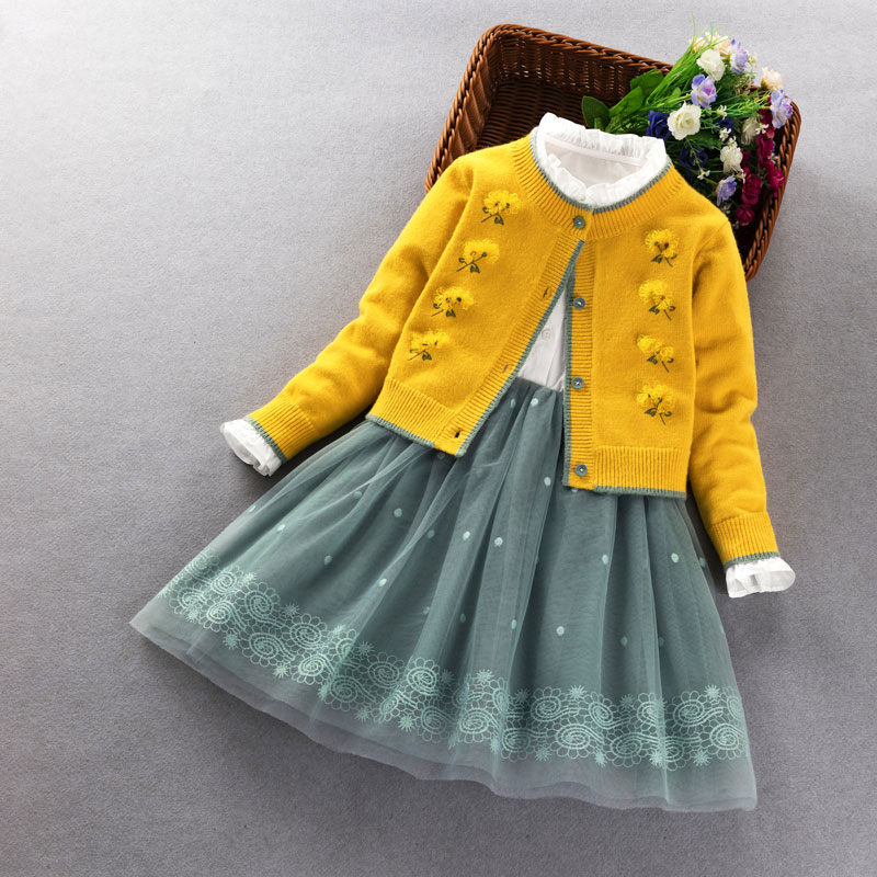 Baby Girls Clothing set 2020 spring autumn Kids knitted sweater coat+dress 2Pcs suit for little girl princess party Clothes 3-9Y