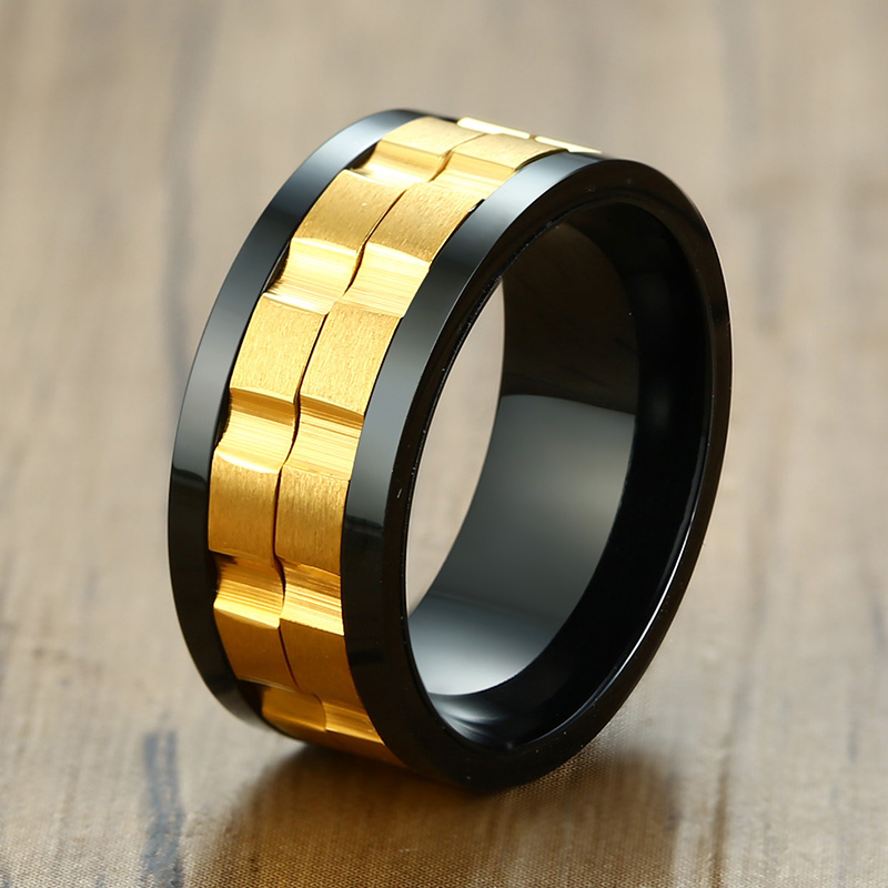 Image 4 - ZORCVENS 2020 New Fashion 9mm Gold Black Rotatable Stainless Steel Wedding Rings for ManRings   -