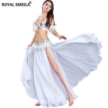 White Belly Dancing Clothing Set Stage Performance Dancer wear dance Costume Women Bra Belt Skirt Armband - discount item  9% OFF Stage & Dance Wear