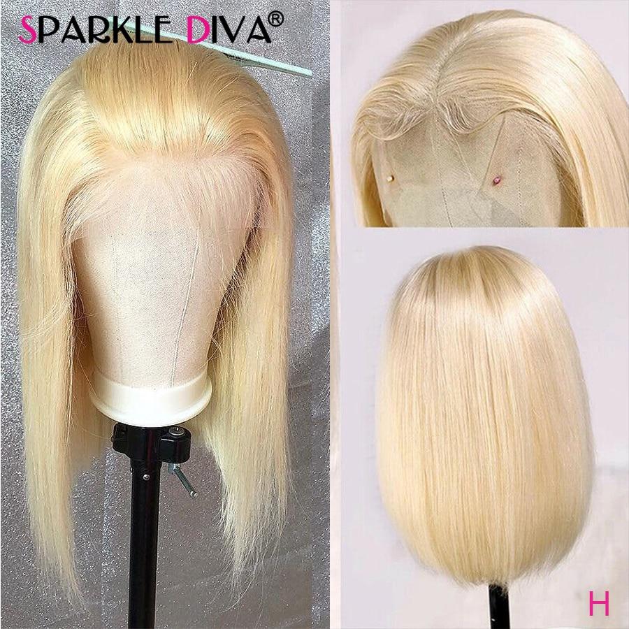 Perruque Bob Lace Front Wig brésilienne naturelle Remy | Cheveux lisses, blond miel 613, 13*4, perruque Lace Front Wig transparente, pour femmes