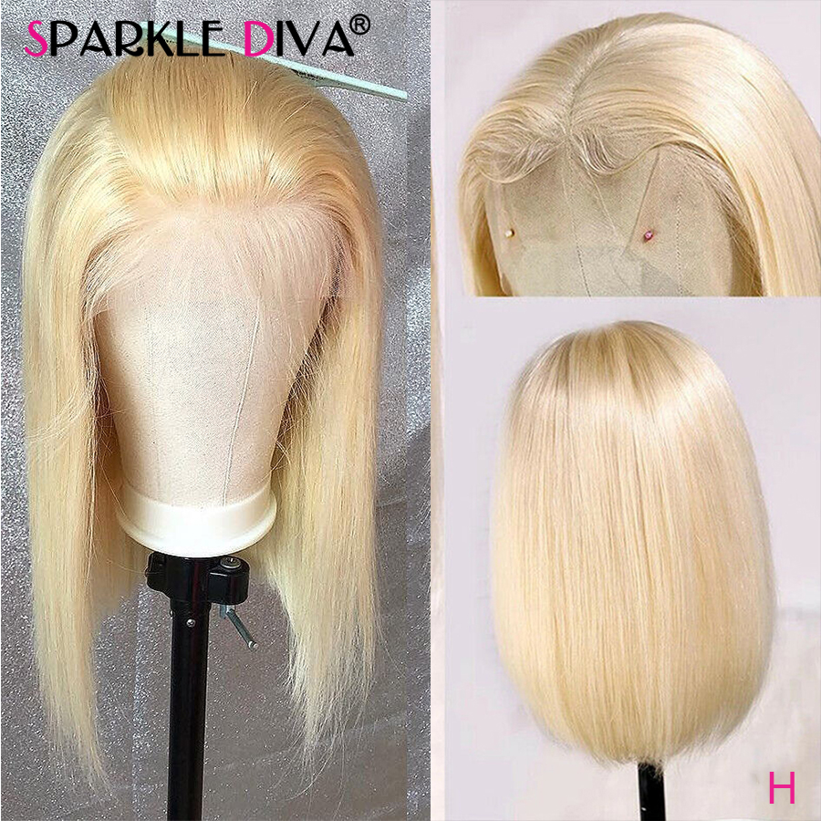 613 loira peruca dianteira do laço brasileiro bob em linha reta perucas de cabelo humano para as mulheres transparente 13*4 peruca dianteira do laço 613 mel loira remy