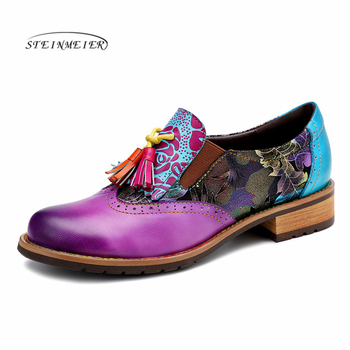 Women Genuine leather brogue casual designer vintage Retro lady flats shoes handmade oxford shoes for women purple 2020 summer beautoday monk shoes women buckle straps genuine leather calfkin round toe lady flats handmade brogue style shoes 21408