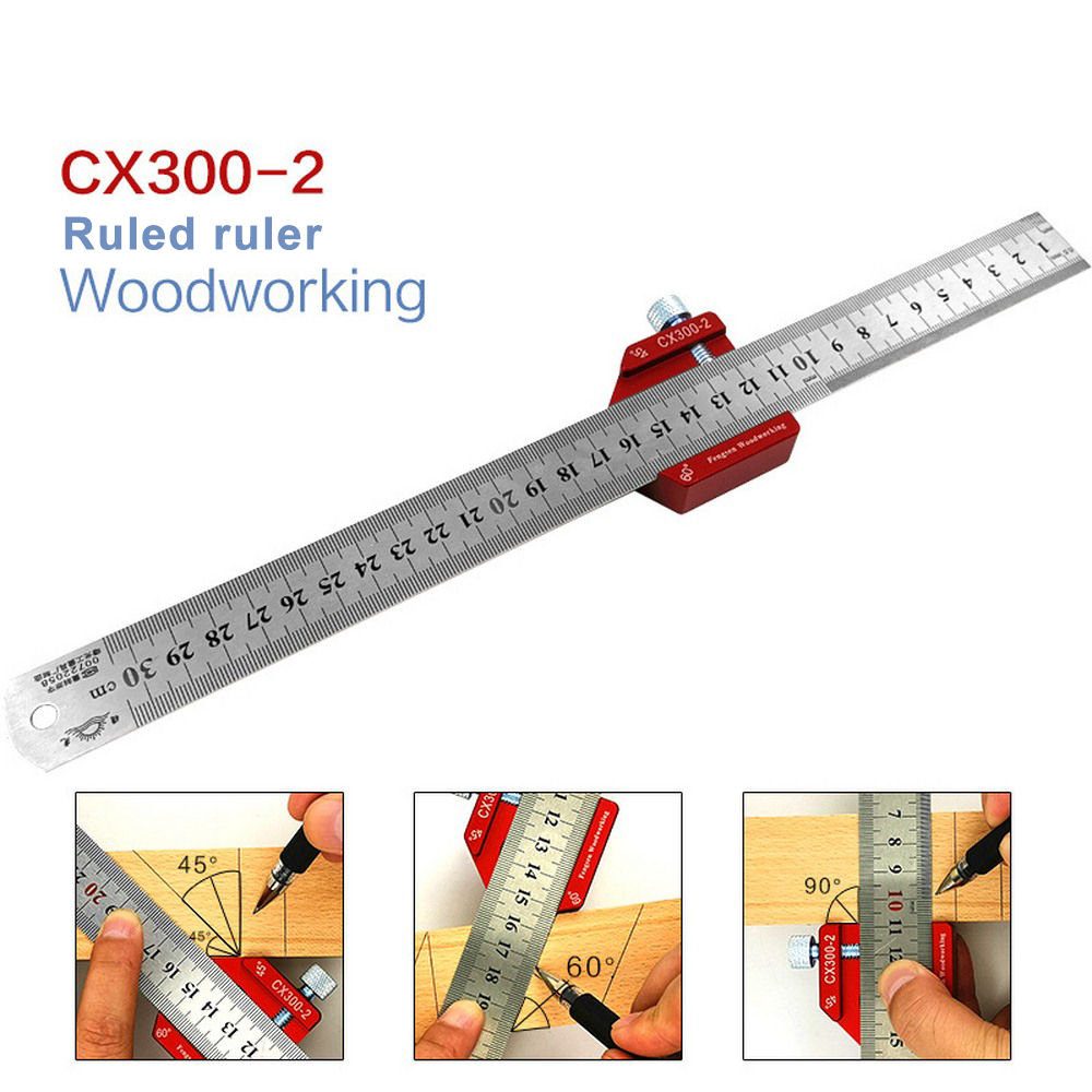 Aluminum Alloy 300mm Scale Measure CX300-2 Scribing Ruler Woodworking T-type Hole Ruler Marking Tool Hand Tools Set
