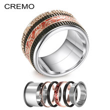 Cremo Black Titanium Rings For Women Pave 316L Stainless Steel Vintage Ring Hallowmas Band Interchangeable Innter Femme