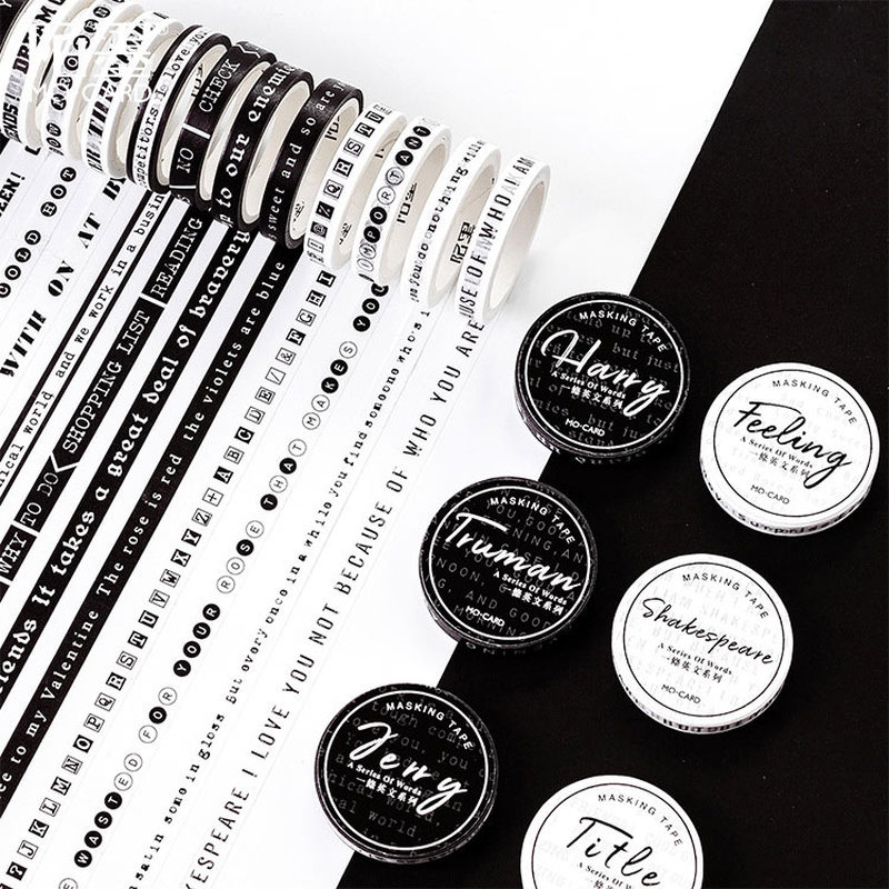 1 PC Black And White Washi Tape Art Journal Decoration Scrapbooking Masking Tape Wedding/birthday/bullet Journal Decoration