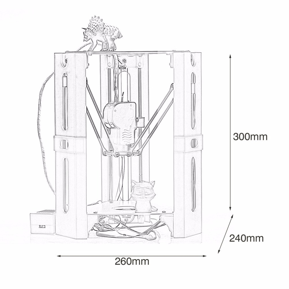 101HERO Protable 3D Printer Mini 1.75mm 0.4mm Nozzle Filament Metal Desk 3D Printer DIY Kit DV Versions Drop Shipping  (15)