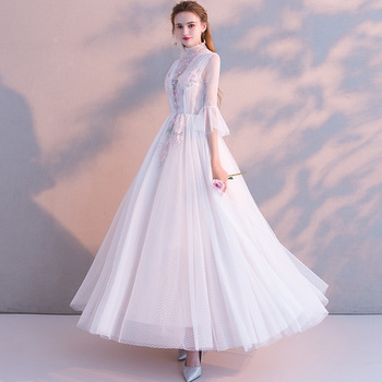 White Exquisite Embroidery Full Length Evening Party Gown Cheongsam Elegant Mesh Dress Qipao Bridal Wedding Dress